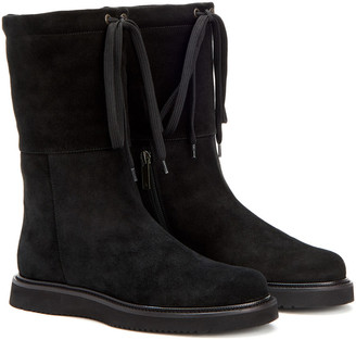 Aquatalia Camilla Weatherproof Suede & Shearling Boots