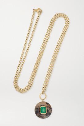 Retrouvaí Lollipop 14-karat Gold, Dendrite And Emerald Necklace - one size