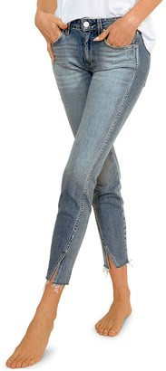 Amo Twist Frayed-Hem Skinny Ankle Jeans