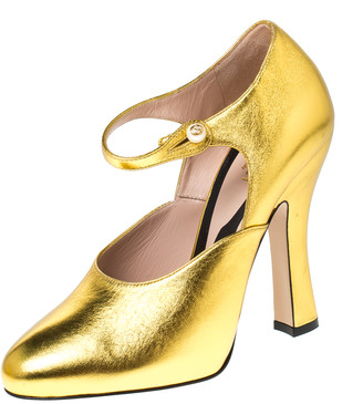 Gucci Gold Lesly Patent Leather Mary Jane Pumps Size 38
