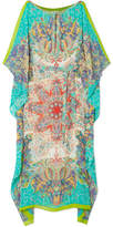 Etro Boavista Printed Silk-georgette Kaftan - Turquoise