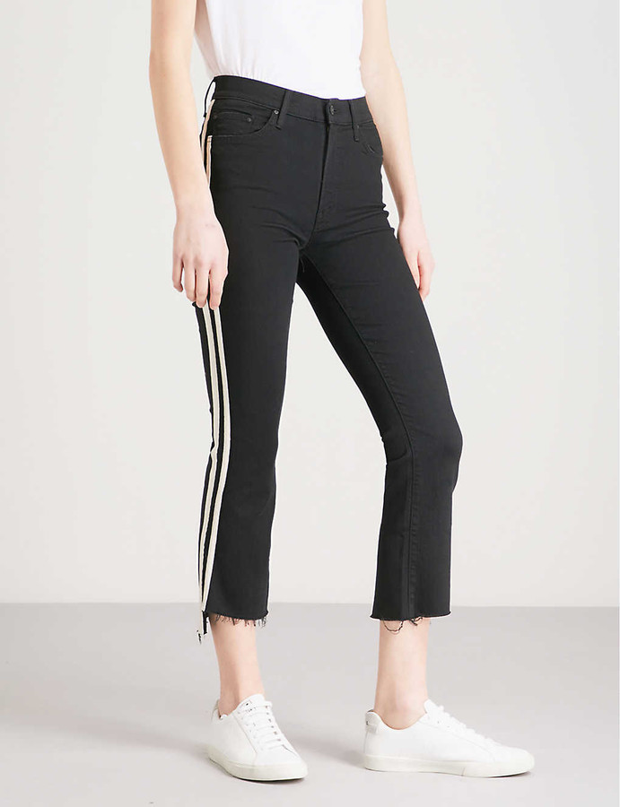 Thumbnail for your product : Mother The Insider striped straight high-rise jeans