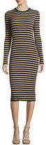 Michael Kors Metallic-Stripe Long-Sleeve Midi Dress, Maritime/Gold