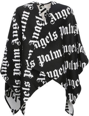 Palm Angels Logo Knit Wool & Cotton Cape