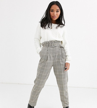 New Look Petite buckle detail check trousers in brown