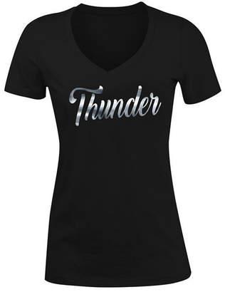 5th & Ocean Women Oklahoma City Thunder Foil V Neck T-Shirt