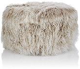 Barneys New York Tibetan Lamb Fur Round Ottoman-GREY