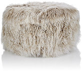 Barneys New York Tibetan Lamb Fur Round Ottoman