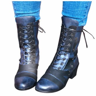 Overdose Women's Clothing Women's Vintage Comfy Chunky-Heel Lace-up Boots Winter High Heel Ankle Boots Leather Ankle Boots Ladies Biker Boots for Women Blue