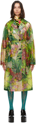 Dries Van Noten Green Floral Rain Jacket
