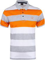 Paul & Shark Thick Hooped Grey, White & Orange Short Sleeve Polo Shirt