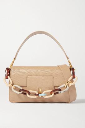 Wandler Georgia Chain-embellished Lizard-effect Leather Shoulder Bag - Cream