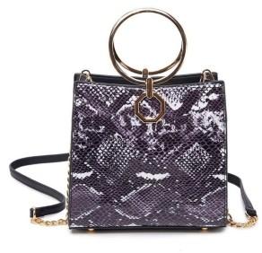 Like Dreams Snakeskin Gold-Tone Ring Mini Handbag