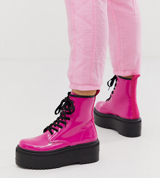 Asos Design DESIGN Wide Fit Acton chunky lace up boots in pink patent