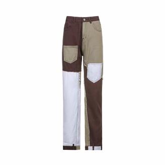 Hiser Women?s Jeans Patchwork Patch Flare Fashion High Waist Denim Pants Ladies Straight Leg Trousers Vintage Distressed Pants Patchwork Jeans (Brown M)