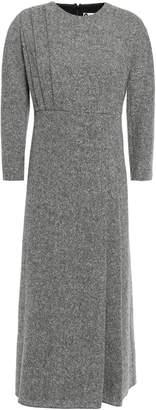 Lanvin Pleated Wool-tweed Midi Dress