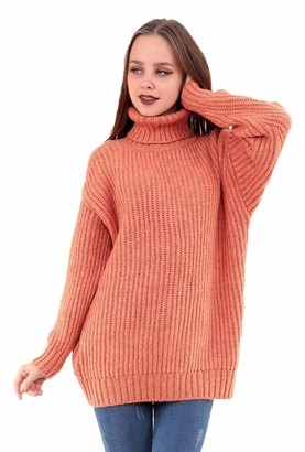 Futuralondon Futura London Womens Knitted Chunky Sweater Long Sleeve Roll Turtle Neck Loose Blouse Jumper Pullover Top (Coral 14)