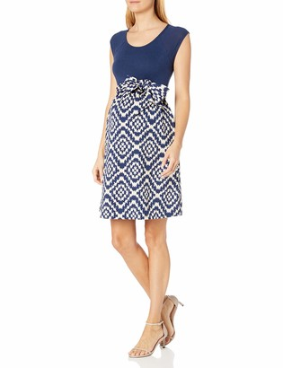 Maternal America Women's Scoop Neck Front Tie Maternity Dress