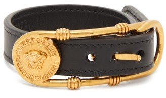 Versace Medusa-buckle Leather Bracelet - Womens - Black Gold