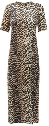 Ganni Leopard-print Satin Midi Dress - Leopard