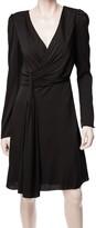 Max Studio Silk Georgette Long Sleeved V-Neck Dress