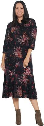 Denim & Co. Printed Brushed Heavenly Jersey Round-Neck Midi Dress