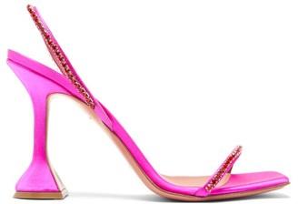 Amina Muaddi Jade Gem-embellished Satin Sandals - Pink