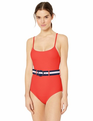 Jessica Simpson Women's Belted One-Piece Swimsuit