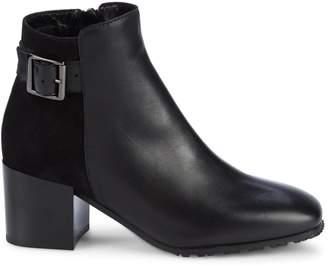 Aquatalia Charlene Leather & Suede Square-Toe Booties