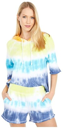 Chaser Linen French Terry 3/4 Sleeve Pullover Hoodie (Spectrum Dye) Women's Sweatshirt