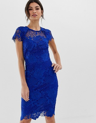 Paper Dolls Cap Sleeve Sweetheart Detail All Over Crochet Lace Pencil Dress-Blue