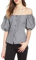 WAYF Buffalo Check Off the Shoulder Blouse