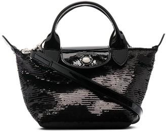 Longchamp XS Le Pliage sequinned top-handle bag