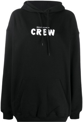 Balenciaga Crew print oversized hoodie