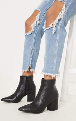 PrettyLittleThing Black Low Block Heel Point Ankle Boot
