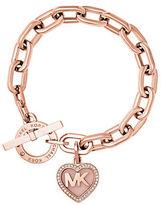 Michael Kors Rose Goldtone Heart Charm Bracelet