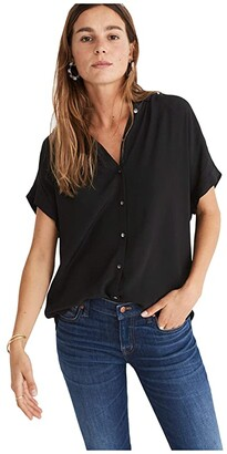 Madewell Central Drapey Shirt (True Black) Women's Clothing