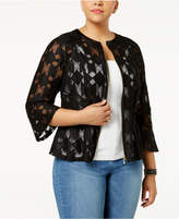 INC International Concepts Plus Size Illusion Peplum Jacket, Created for Macy's