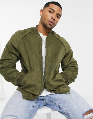 ASOS DESIGN faux suede bomber jacket in khaki