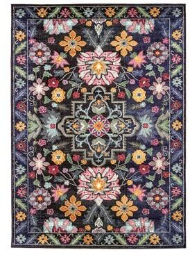 Bungalow Rose Frakston Artistic Black/Pink Area Rug