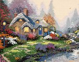 Thomas Laboratories M C G Textiles Kinkade Everett's Cottage Counted Cross Stitch Kit-14-Inch by 11-Inch 14 Count