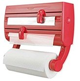 Leifheit Parat F2 Wall-Mounted Foil, Cling Film and Kitchen Roll Holder Dispenser - Red