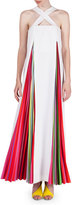 Mary Katrantzou Sleeveless Rainbow-Plisse Gown, White