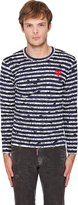 Comme des Garcons Navy Stripe Red Emblem T-Shirt