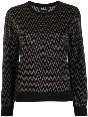A.P.C. zigzag pattern crew-neck pullover