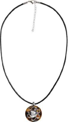 Ambra Chiara Women's Necklace with Pendant Changeable Spirit 17 MM with Brown Base Disk with Flower Design C14195