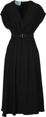 Prada V-Neck Draped Belted Dress