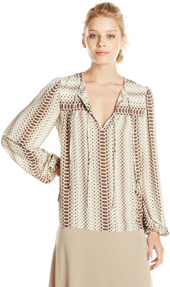 BCBGMAXAZRIA Women's Lorella Printed Long Sleeve Peasant Top