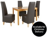 Evelyn 120cm Solid Wood And Glass Dining Table + 4 Manhattan Chairs