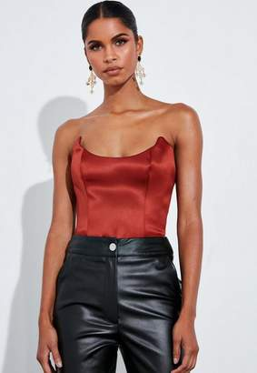 Missguided Copper Satin Structured Bodysuit
